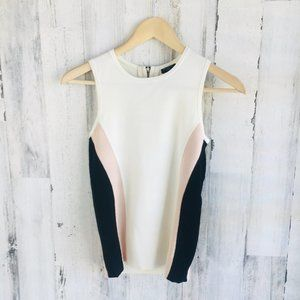 Ann Taylor Knit Shell Top Sleeveless Cream Black